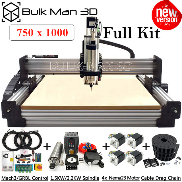 7510 Newest WorkBee CNC Router Machine Full Kit with Tingle Tension System 4 Axis CNC Milling Complete Kit 750x1000mm
