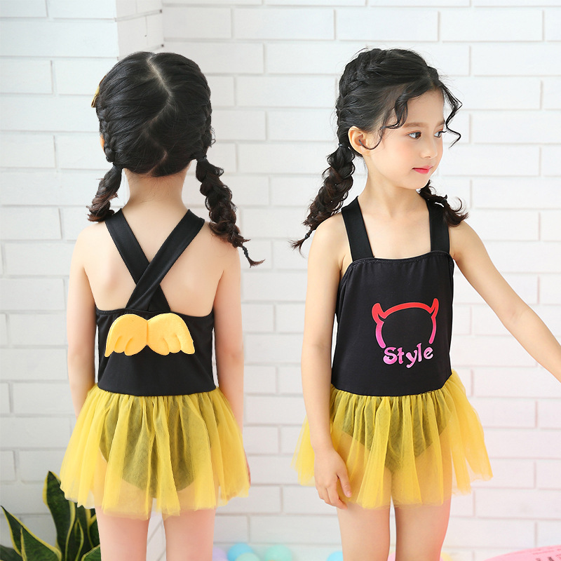 KID'S Swimwear Women's GIRL'S Dress-Swimwear Douyin Celebrity Style Cute Angel Wings Princess Bathing Suit
