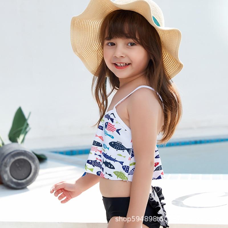 KID'S Swimwear Girls Split Type Beach Quick-Dry Princess Cute Big Boy Students Swimwear