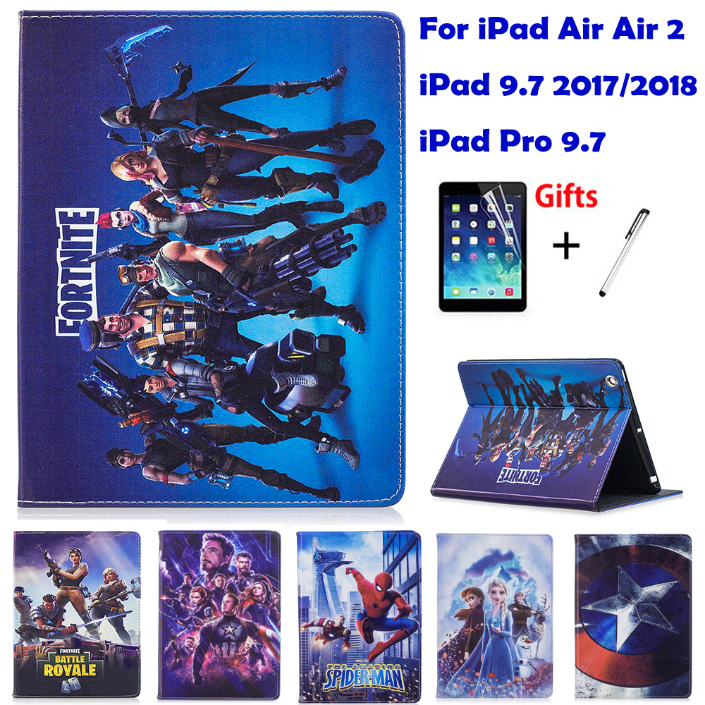 Case For Apple iPad air air 2 New iPad 9.7 2017/2018 Pro 9.7 Cases Battle Royale Game Stand Flip tablet Cover coque Free Film image