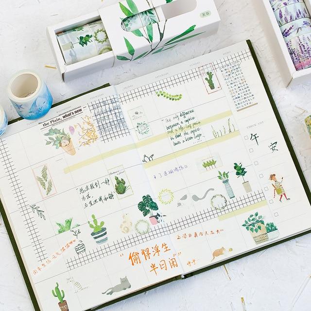 5 Pcs/Box Beautiful Flower Washi Tape DIY Decoration Scrapbooking Planner Masking Tape Adhesive Tape Label Sticker Stationery 3