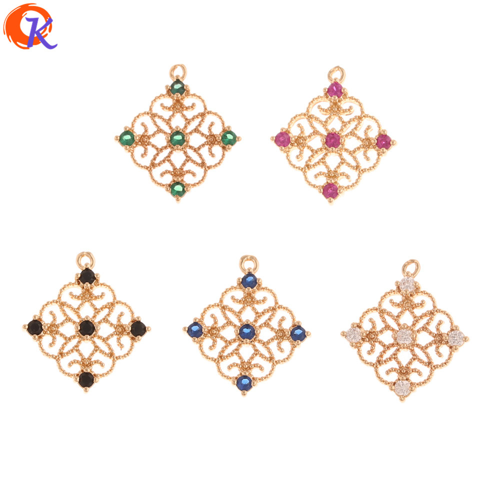 Cordial Design 50Pcs 16*18MM Jewelry Accessories/Earrings Connectors/Hand Made/DIY Pendant/Earring Findings/CZ Charms Making
