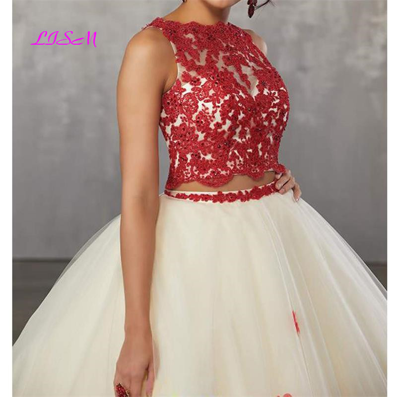 Image 5 - Sweet vestido debutante Ball Gown Two Pieces Organza Quinceanera Dress O neck Long 3D Flowers Sweet 16 Dress Vestidos De 15 Anos-in Quinceanera Dresses from Weddings & Events