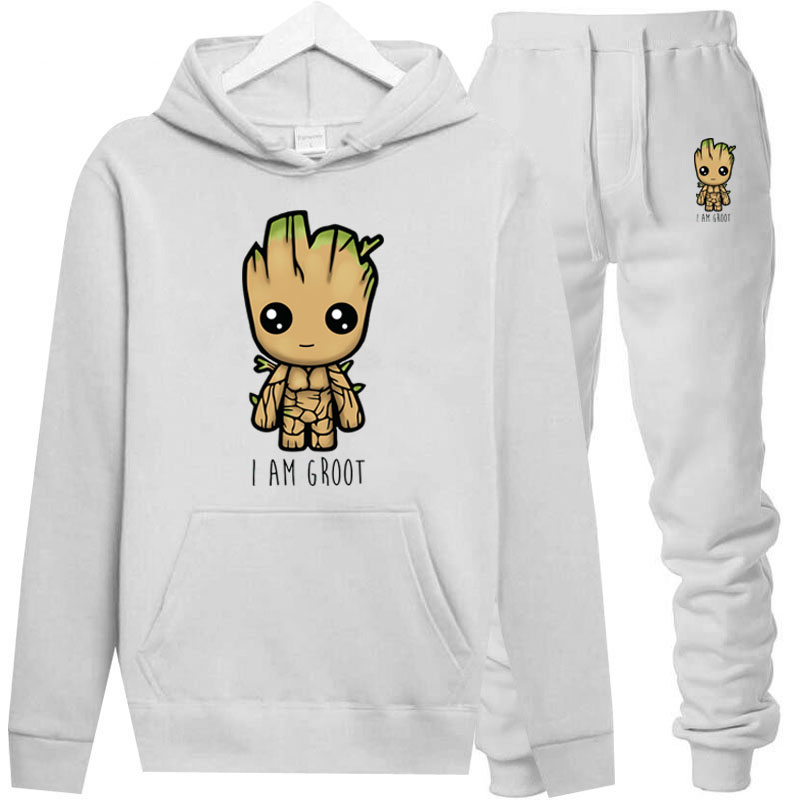толстовка NewThe Avengers Mens Hoodies Suit  I Im Groot Tracksuit Men Sweatshirt Suit Hoodie+sweat Pants Jogging  Hooded Male