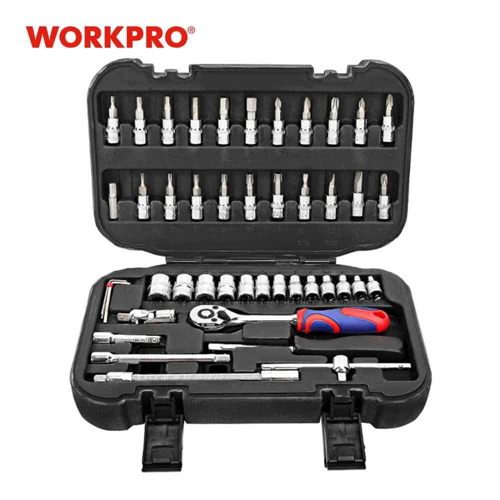 """Workpro 48pcツールセットソケットセット 1/4 """"ソケットレンチ家の修理ツールキット自転車修理"""