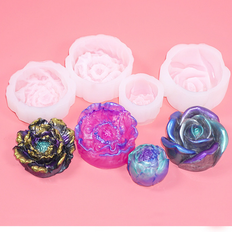 Realistic Flower Silicone Mold 3D Floral Mold Fake Flower DIY Epoxy Resin Art UV Resin Craft Epoxy Resin Mold Lotus Rose Papaver