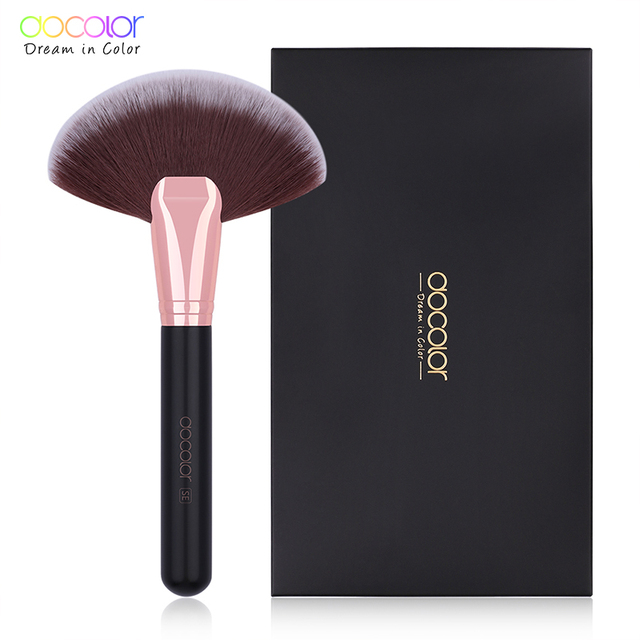 Docolor Makeup Brushes Powder Foundation Highlight Fan Makeup Brushes Wooden Handle Professional Make up Brushes For Beauty 4