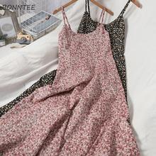 Женское платье без рукавов с цветочным принтом на бретелях-спагетти с открытой спиной элегантное женское универсальное модное уличное пла...