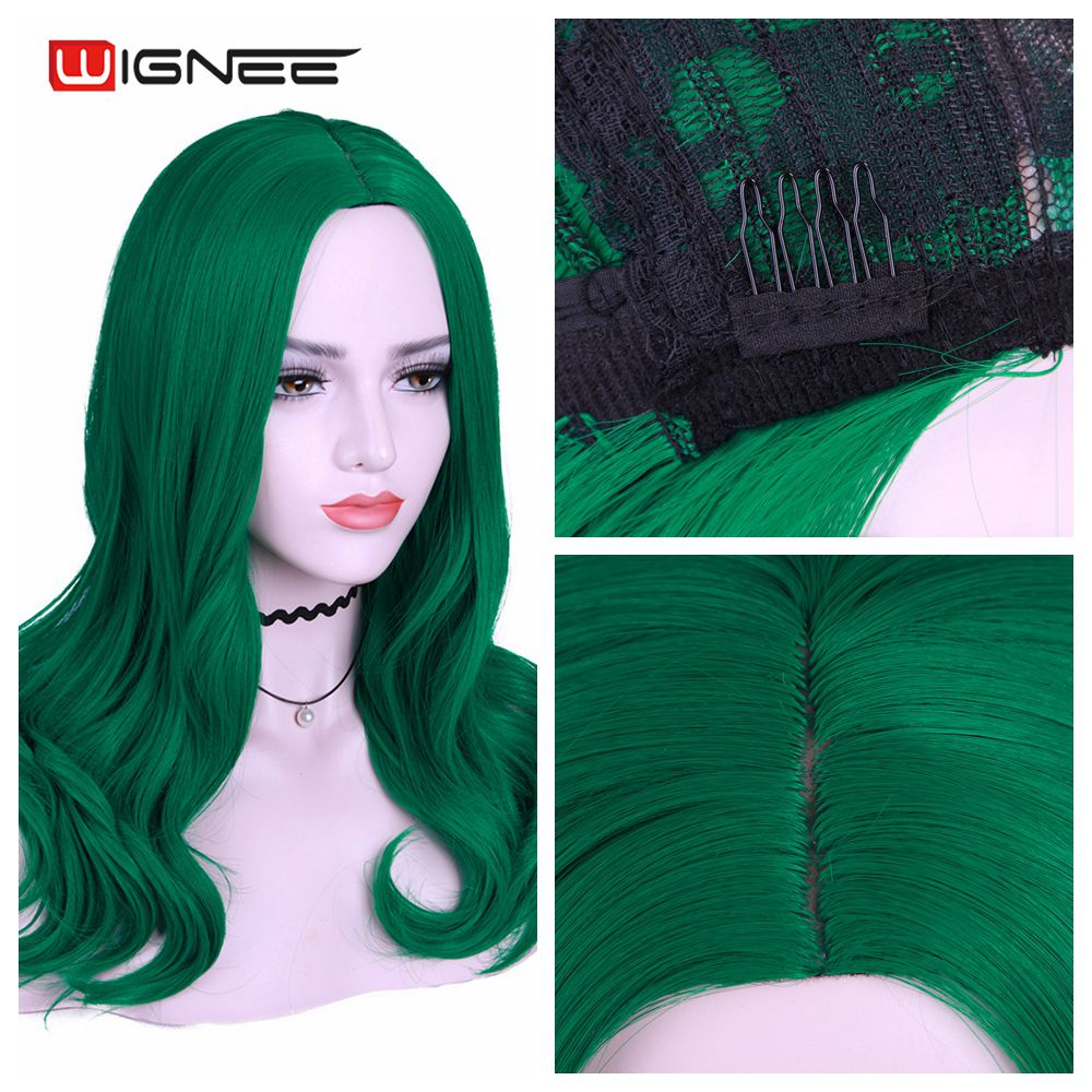 Wignee Long Synthetic Wigs Green Wavy Middle Part Wig for Women Daily/Party/Cosplay Heat Resistant Natural Glueless False Hair