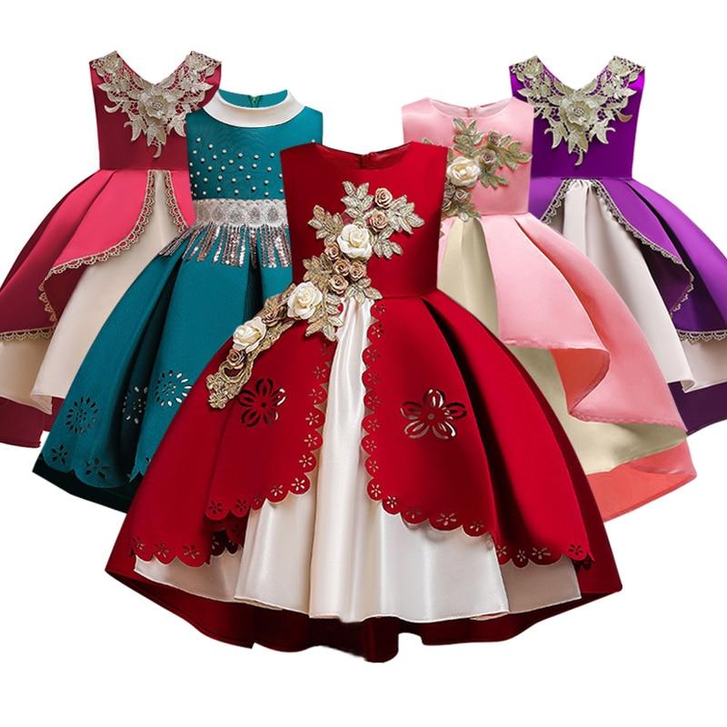 Kids Evening Gown Banquet Princess Dress For 2019 Applique Girls Pageant Dress First Communion Dresses Wedding Party Gown
