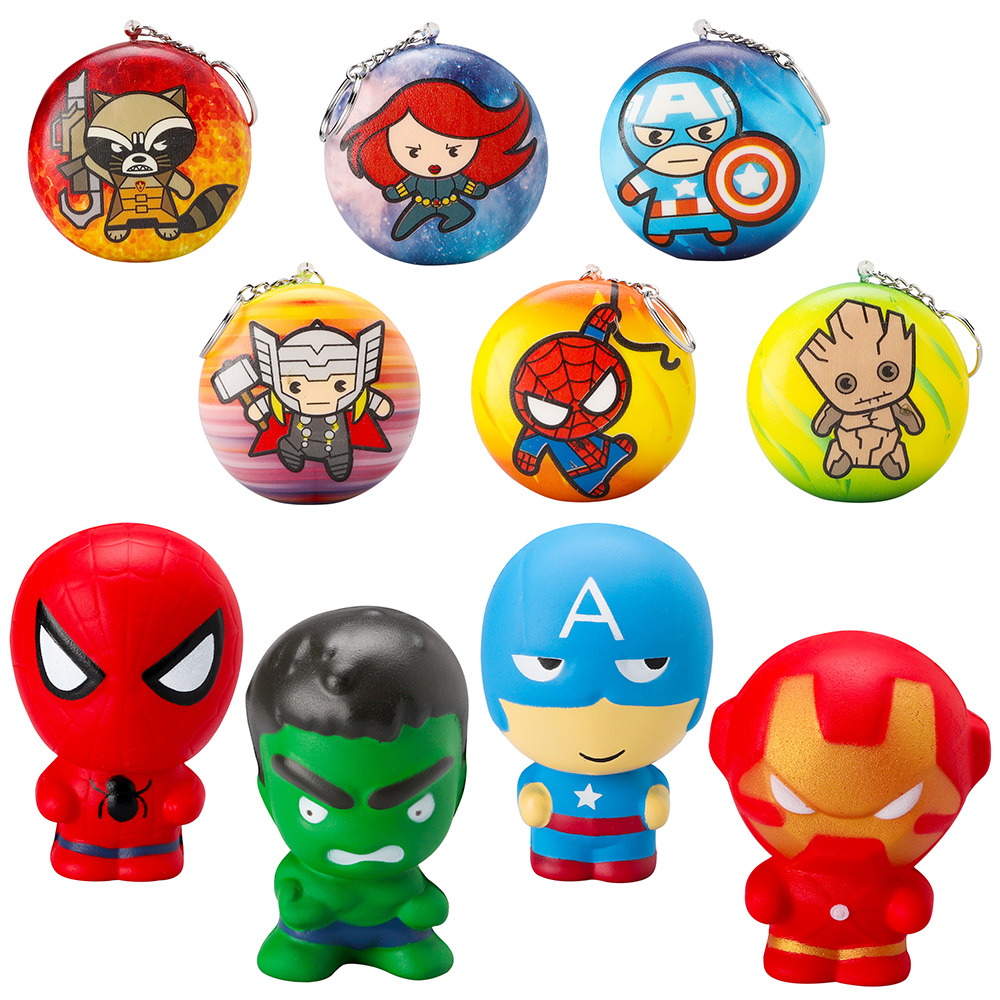 10pcs Superhero Soft Squeeze Squishy Toys with Key chains Cartoon Hero Slow Rising Stress Relief Party Supplies for Kids