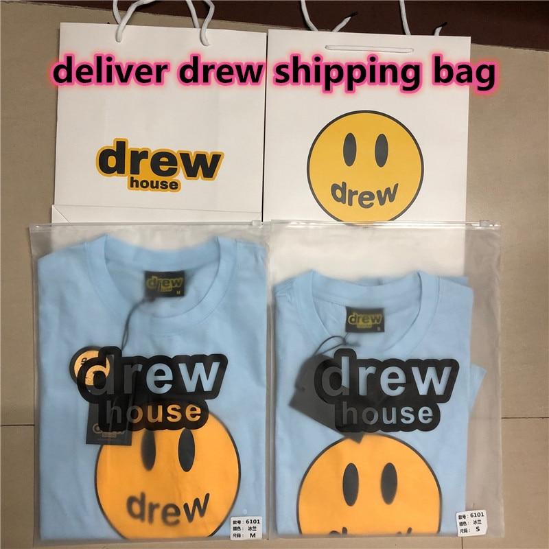 XXL Size Justin Bieber The Drew House Smile Face Printed Women Men 1:1 Streetwear T shirts Tees Streetwear Men Casual T-shirt