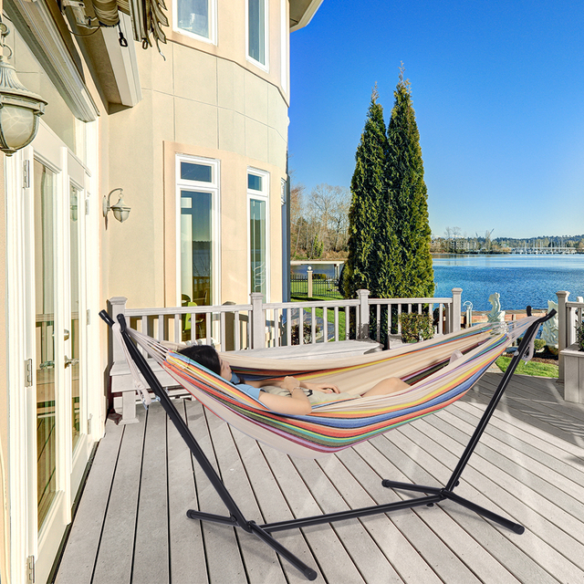 Hammock With Stand Swinging Chair Bed Travel Camping Home Garden Hanging Bed Hunting Sleeping Swing Indoor Outdoor Furniture 4