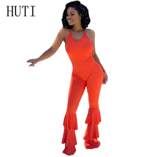 HUTI Sexy Long Jumpsuits Women Fashion Off Shoulder Summer Ruffled Backless Bodycon Sleeveless Romper Overalls Femme Playsuits