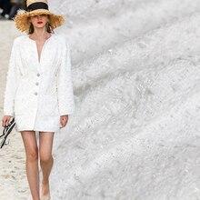 Перламутровый шелк чистый белый твидовый цвет материалы для одежды ткань Весенний костюм платье юбка DIY Одежда ткани Бесплатная доставка
