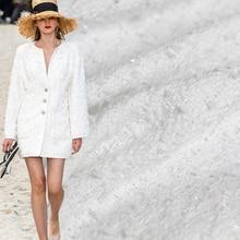 Pearlsilk puro branco tweed cor vestuário materiais tecido primavera terno vestido saia roupas diy tecidos frete grátis
