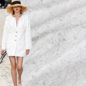 Image 1 - Pearlsilk טהור לבן טוויד צבע בגד חומרים בד אביב חליפת שמלת חצאית בגדי DIY בדים משלוח חינם