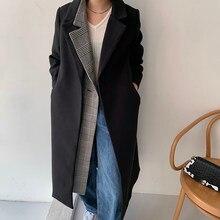 ルーズフィット黒のチェック柄のウールコートパーカー新長袖女性のファッション潮秋冬2021 1DD0741