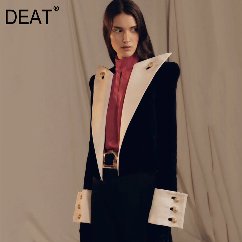 DEAT 2020 New Autumn And Winter Turn-down Collar Cool Flare Sleeves High Waist Quite Open Sexy Single Blazer WJ53901L