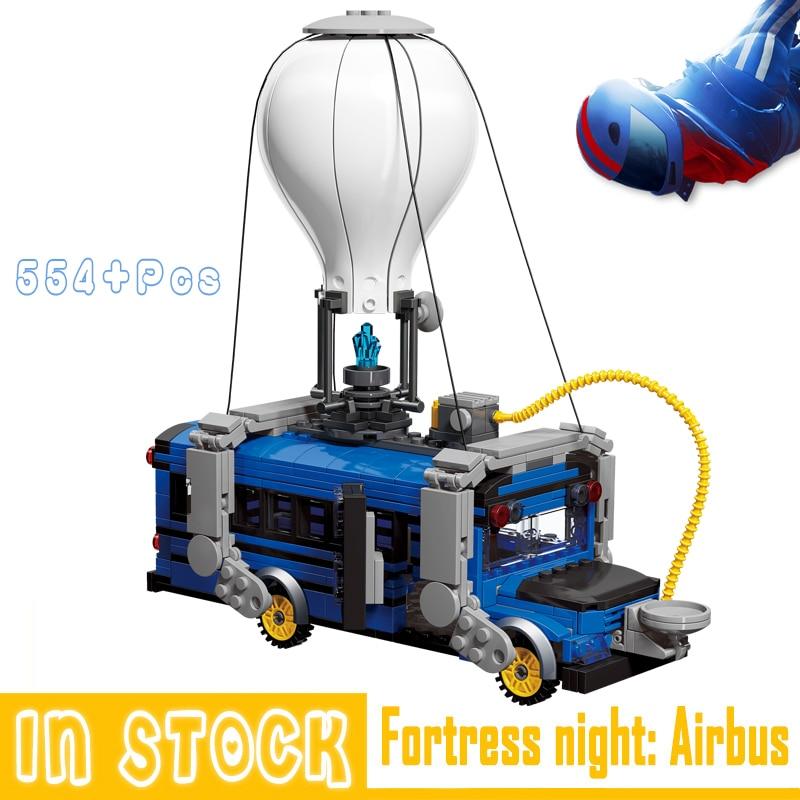 Fortnites Blocks Toys Air Bus Mini Movable Building Blcosk Bricks Figures Gifts Kids Fortnighting Model Toys Fortress Night