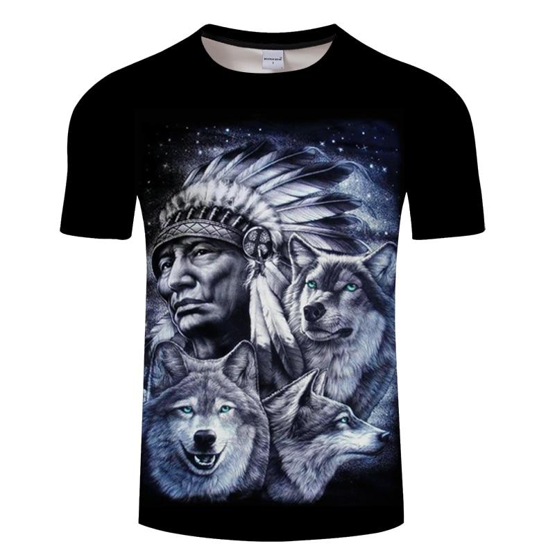 3d Indians Wolf Print T Shirts Summer O Neck Short Sleeves Casual Man Tees Tops Harajuku Style Streetwear Men Wolf T-shirt