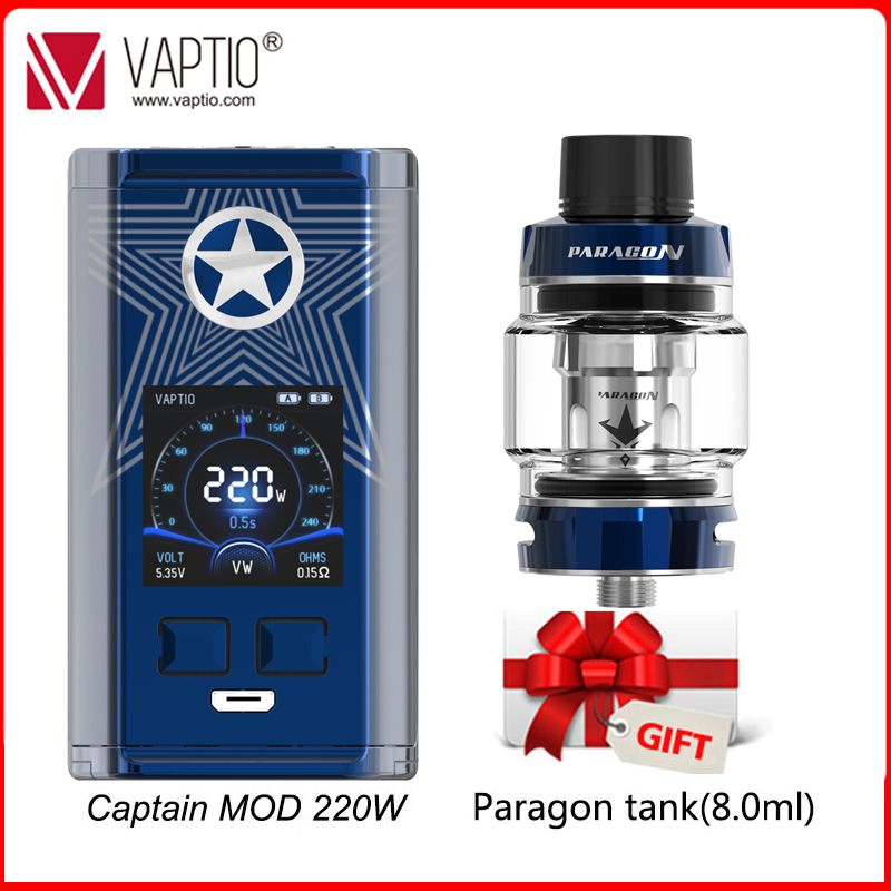 【UK SHIPPING】Gift E-cigarette Mod Vape 220W Vaptio Super Cape Box Mod 510 Thread 1.3inch HD Color TFT Screen Fit 18650 Battery