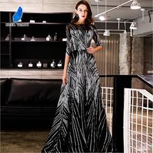 DEERVEADO вечернее платье с пайетками, официальное с короткими рукавами, вечернее платье, платья для особых случаев, Robe De Soiree YS437