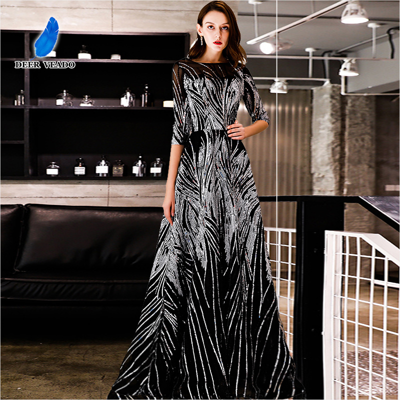 DEERVEADO Evening Dress with Sequins A Line Half Sleeves Formal Dress Evening Party Gown Occasion Dresses Robe De Soiree YS437