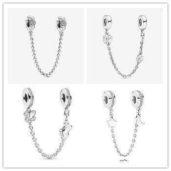 925 стерлингового серебра с очаровательной бусинкой два декоративных бабочек безопасносные браслеты бусины, соответственные Пандоре обаятельные Браслеты и ожерелья ювелирных изделий