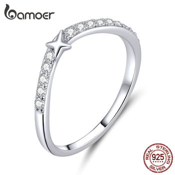 Bamoer Authentic 925 Sterling Silver Transparent CZ Little Star Finger Rings For Women Wedding Statement Fine Jewelry BSR112