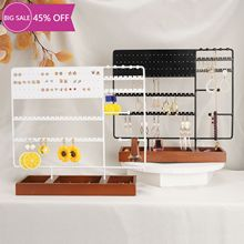 130Holes Jewelry Display Stand Ear Stud Holder Tower Rack Jewelry Organizer with Wooden Tray for Earring &Bracelet Necklace Ring