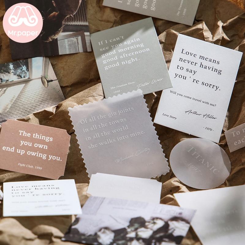 Mr.paper 30pcs/lot Instagram Style Butter Paper Kraft Card Journaling Bullet Scrapbooking Material Paper Fresh Words LOMO Cards 2
