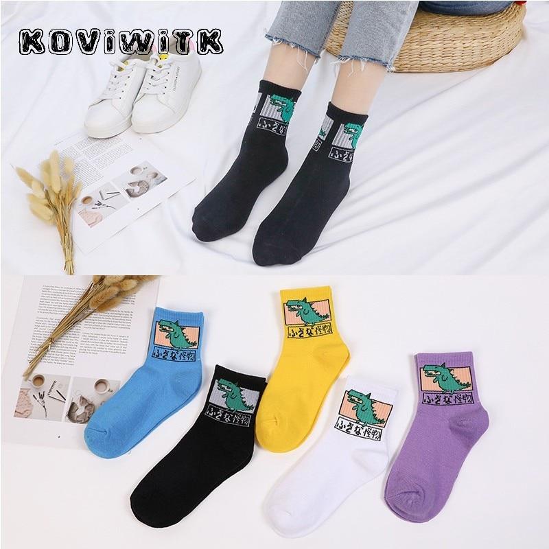 Funny Cartoon Animal Dinosaur Socks For Women Cute Japan Hip Hop Long Casual Black Sock Ladies Fashion Harajuku Girl Monster Sox