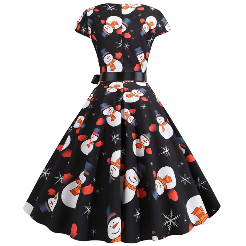 Women Christmas Party Dress robe femme Plus Size Elegant Vintage Short Sleeve Xmas Summer Dress Black Casual Midi Jurken Vestido 755