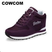 COWCOM 여성 구두 운동화 레저 증가 단일 여성 구두 높은 최고 운동화 신발 여성 여성 쐐기 신발 CYL 101