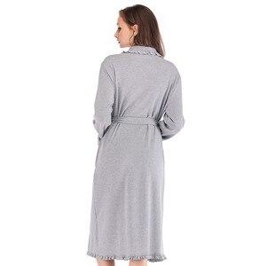 Image 5 - Tasarım Kadın Pijama Zarif Kimono Robe Bayanlar Kış Sonbahar Rahat Bornoz Gevşek Fırfır Katı Banyo Spa Elbiseler Kadınlar Için