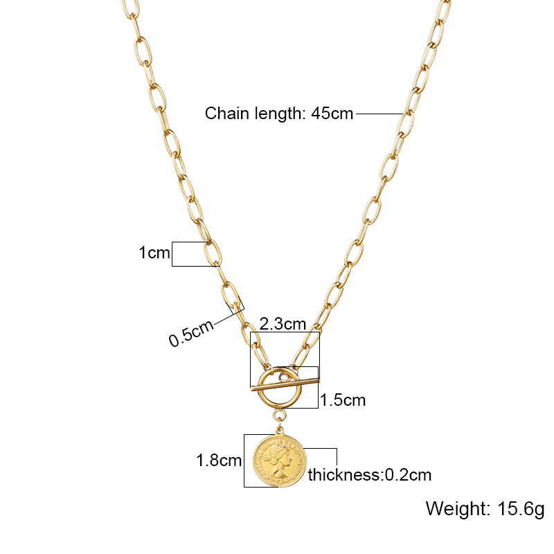 Vintage Multiple Layered Necklaces Long Pendant Necklace Women Stainless Steel Necklace Fashion Coin Cross Pendant Necklace Gift