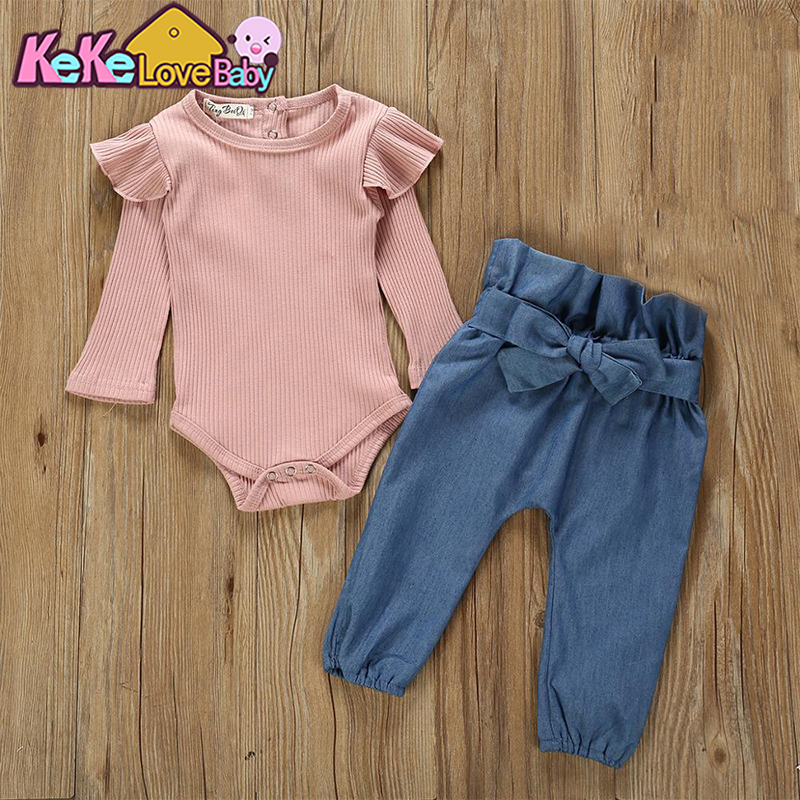 Toddler Baby Girl Clothes Set Autumn Spring Solid Long Short Romper Bodysuit Denim Pants 2PCS Tracksuit Casual Baby Clothes