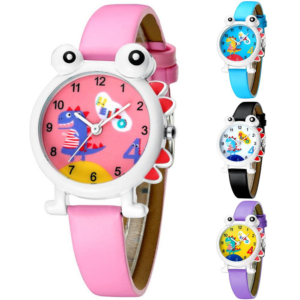 Cartoon Dinosaur Round Dial Faux Leather Strap Analog Child Quartz Wrist Watch