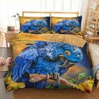 Blue Parrot Bedding set 3D Bird Duvet Quilt Cover Twin queen king size Bedclothes Bed linen 3pcs