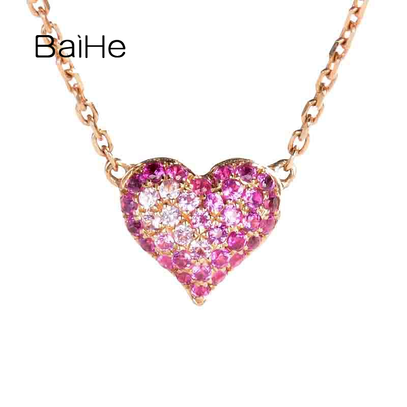 BAIHE Genuine Solid 18K Rose Gold 0.18ct Pink Sapphire Fine Jewelry Heart Necklaces Women Trendy Wedding Gift Anniversary