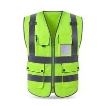 High Visibility Reflective Vest Zipper Front Safety Vest With Reflective Strips Construction Workwear Safety Reflective Vest