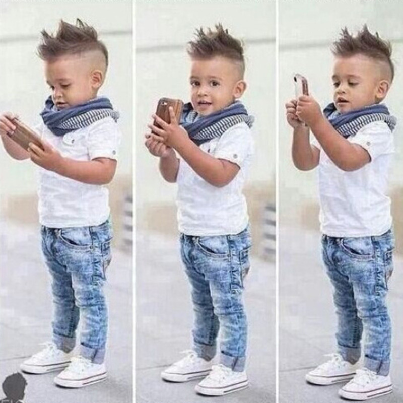 Boy Clothing Set Casual T-Shirt Scarf Jeans 3pcs Child Clothing Set Summer Kids Costume For 2-7 Yrs