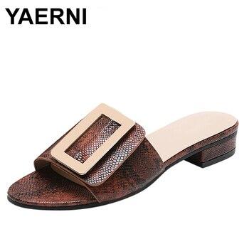 YAERNI Women Buckles Flat shoes ladies slippers Snake printed Peep Toe Slippers Hoof Heels Elegant Shoes Slippers
