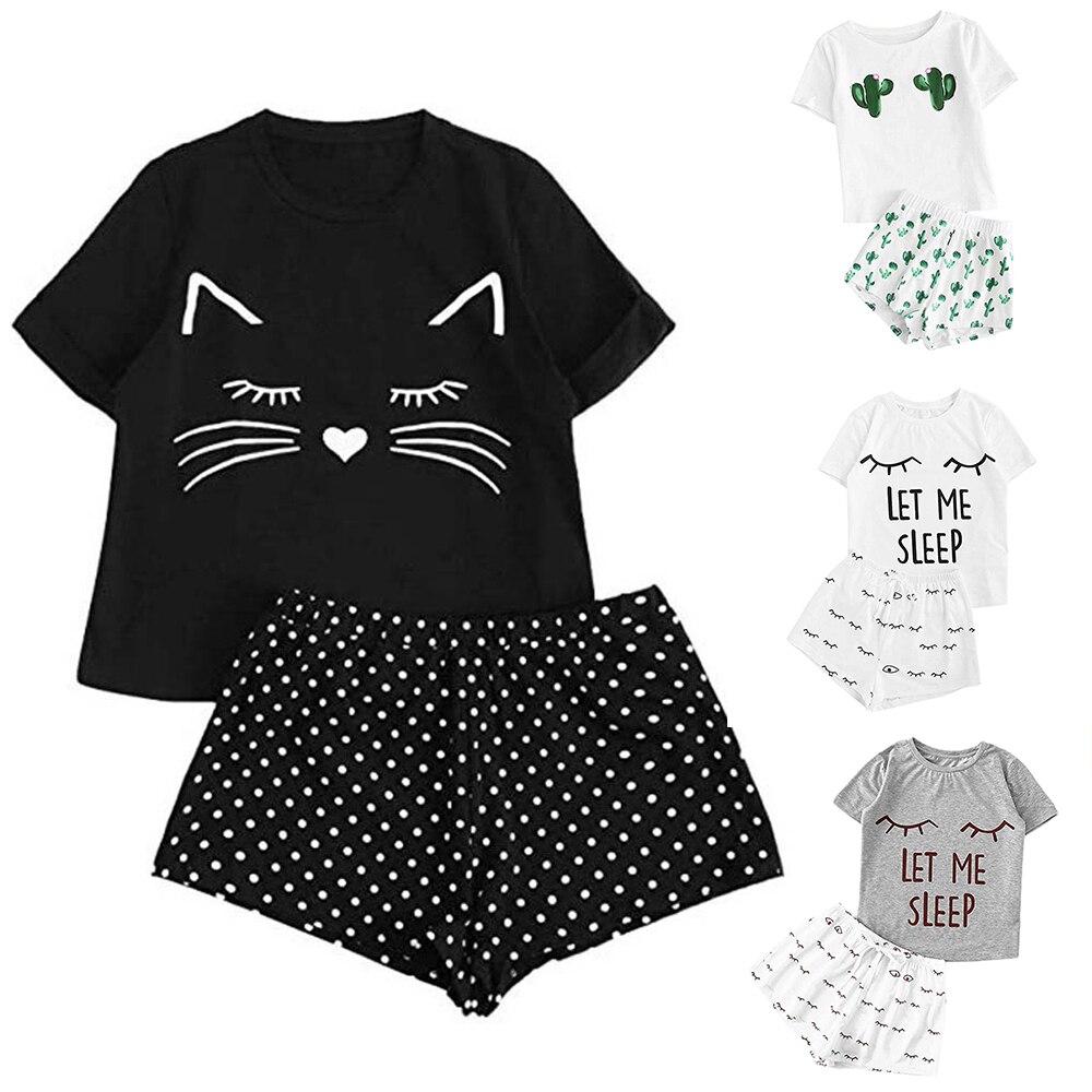 NIBESSER 2 Piece Summer Cute Cartoon Pajama Set Print Short Sleeve T Shirt And Shorts Sleepiwear Set Woman Casual Homewear Set