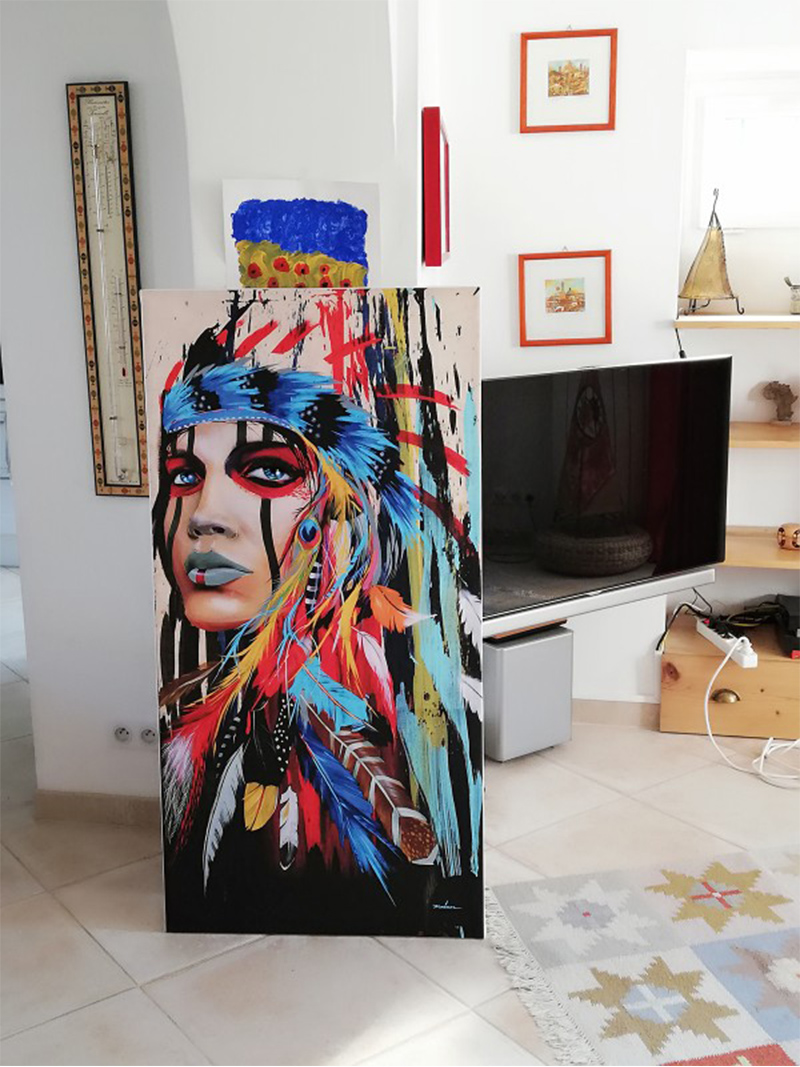 Ha46de9baacf04592a319e99f707e86d9b Modern Wall Art Prints Coloful Girl Feathered Women Canvas Painting For Living Room Home Decor free shipping Unframed