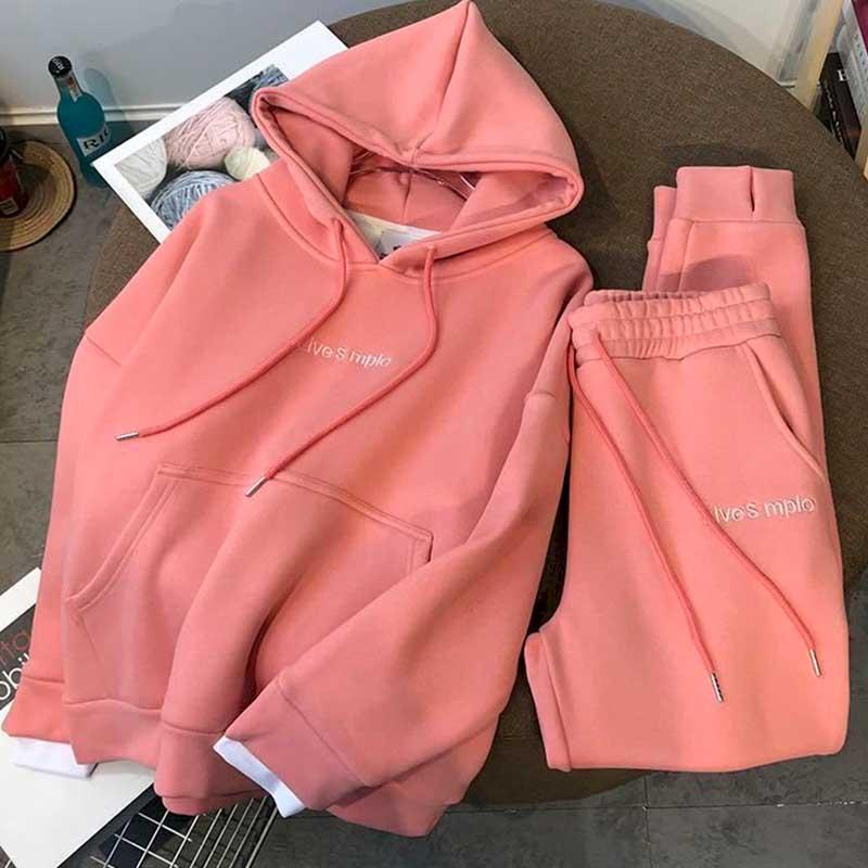Осенне-зимний новый костюм, утепленный бархатный пуловер с капюшоном, женский костюм из 2 предметов, брюки и топы для спорта и отдыха из двух ...