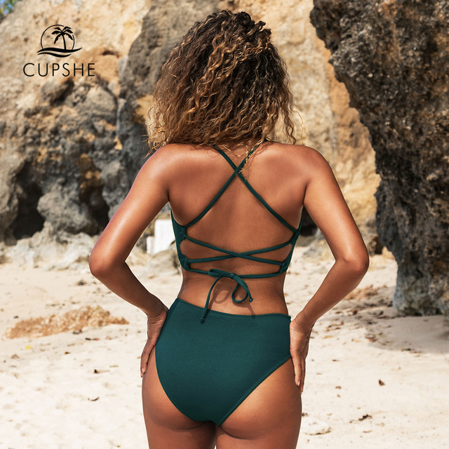 CUPSHE Solid Green Lace Up Bikini Sets Sexy Cut Out Swimsuit Two Pieces Swimwear Women 2021 New Beach Bathing Suits 4