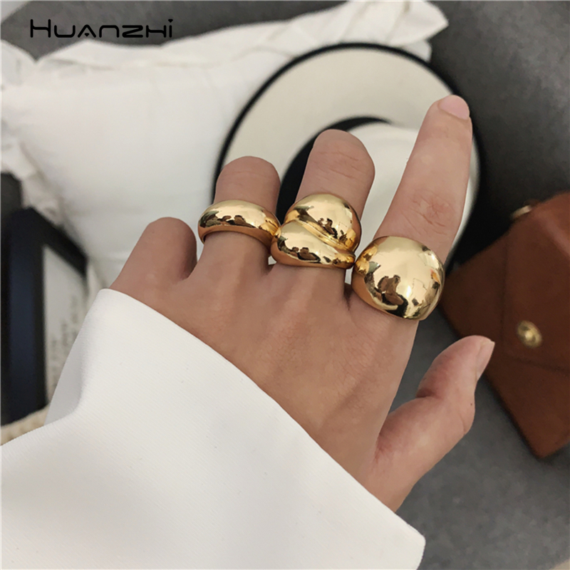 HUANZHI 2020 Gold Color Silver Color Metal Minimalist Glossy Wide Open Rings Geometric Finger Rings for Women Men Jewelry