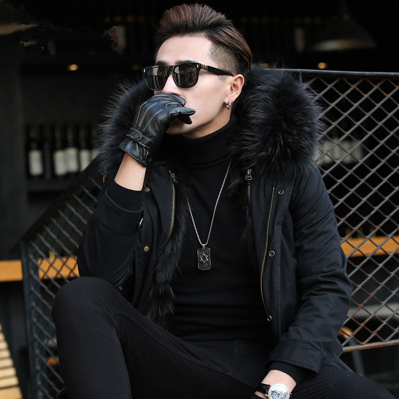 Natural Raccoon Fur Coat Warm Winter Jacket Men Raccoon Fur Collar Warm Parka Men Clothes Men Long Coat F-PKF-1111 MY774